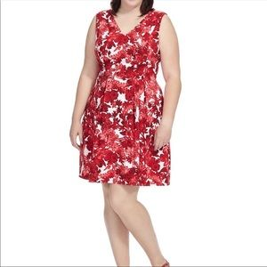 London Times Woman Red Floral Fit and Flare 16W